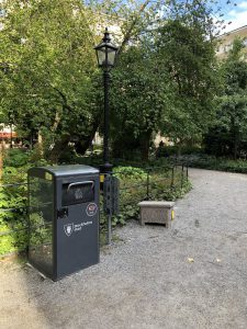 Solar-powered trash basket in Stockholm Bigbelly